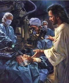 Nathan Greene Be Thou My Vision Canvas Giclee #NathanGreene #Inspirational. Be Thou My Vision vividly portrays the closeness of Christ in our most difficult life situations. The eye surgeon and attendants in this image look to Christ for direction. Patients and staff will draw stength and comfort from this moving image.