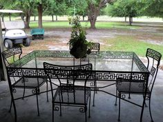 Going to be MINE!!!  Love the Greek Key! Vintage Patio, Outdoor Furniture Sets, Outdoor Decor, Greek Key, Mid-century Modern, Mid Century, Terraces, Retro, Nyc