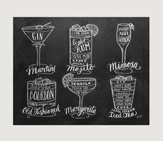 Bartender Gift - Cocktails Print - Bar Cart Art- Chalkboard Art - Kitchen Art - Bartender Gift - Chalk Art by LilyandVal on Etsy https://www.etsy.com/listing/194420016/bartender-gift-cocktails-print-bar-cart