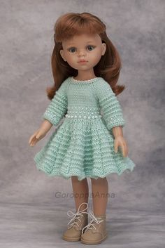 Paola reina mint knitted dress for paola reina antonio juan munecas corolle les cheries knit clothes for doll 13 inch doll dress Knitting Dolls Clothes, Crochet Doll Clothes, Knitted Dolls, Crochet Dolls, American Girl Crochet, American Doll Clothes, Doll Costume, Crochet For Kids, Knitting Yarn