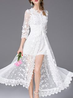Shop White V Neck Gauze Embroidered Dress online. SheIn offers White V Neck Gauze Embroidered Dress & more to fit your fashionable needs.