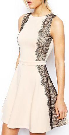 Lace Trim Skater Dress //