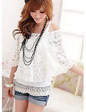 Vrouwen Two Piece Borduren Puff T-shirt van d... – EUR € 14.43 No dress, Yet cute ;)