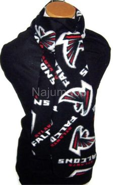 NFL Atlanta Falcons Fleece Scarf - Logo on Solid Black Falcons Football, Football Baby, Falcons Gear, Football Stuff, Baseball Stuff, Atlanta Falcons Rise Up, Sports Baby, Fleece Scarf, Solid Black