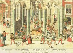 De Beeldenstorm.  Vernieling van de Onze-Lieve-Vrouwekathedraal te Antwerpen op…
