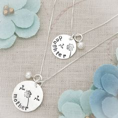 Mother Daughter Necklace Set Personalized with Birthstones Hand Stamped Sterling Silver on Etsy, $66.95