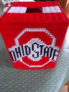 Ohio State Plastic Canvas Tissue Box Cover! Another Summer Project!!!
