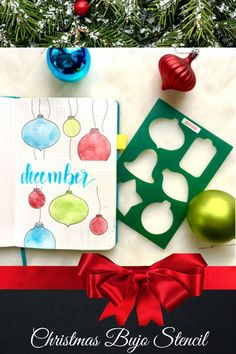 Create gorgeous Christmas bullet journal layouts - even if you can't draw. This stencil instantly ups your artistic game. Get yours here. #moxiedori #bulletjournal December Bullet Journal, Bullet Journal Tracker, Bullet Journal Layout, Bullet Journal Inspiration, Journal Ideas, Planner Supplies, Weekly Spread, Journaling, Layouts