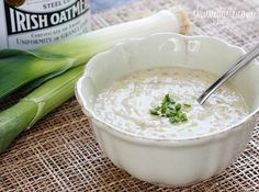 Irish Oatmeal Leek Soup  ( ' Brotchán Foltchep' ) , Exactly how far back this soup dates is debatable, with some claiming it goes back to the days of the ancient Druids.  This is highly probable. Brotchan is an old Irish word for Broth and Foltchep is an old Irish word for chives.