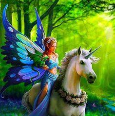 Unicorn,  fairy and dragon