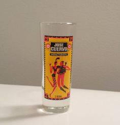 Jose Cuervo Primo Tequila 1994 tall Shot Glass, vintage alcohol advertising glass. For Sale by DanushasCollectibles vintage Etsy shop. tvteam vtpassion