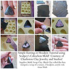 http://www.charlestonclayjewelry.com/charleston-clay-blog/ Use Sculpey's Cabochon mold