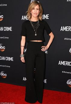 Smoking gun: Actress Felicity Huffman, 52, attended a screening of her new drama series American Crime at the Ace Hotel in Los Angeles, California on Sunday