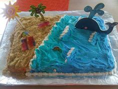 L favorite cake with other things added 7th Birthday Party Ideas, 2nd Birthday, Birthday Parties, Beach Themed Cakes, Beach Cakes, Wave Cake, Surf Cake, Nature Cake, Dolphin Party