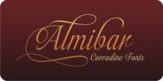 Almibar™ - Webfont & Desktop font « Almibar is a delicate and very elegant connected script font. Its classic style is perfect to be applied in any type of formal pieces such invitations, labels and menus.