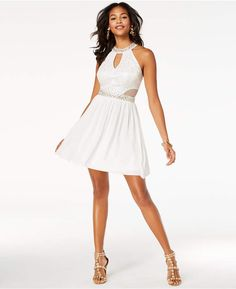 2d9f49617 B. Darlin Juniors' Sequined Lace Halter Dress Junior Dresses, Prom Dresses,  Formal