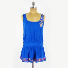 FOREVER 21 #boho #ethnic #FLORAL #EMBROIDERED #PEASANT #tunic #shirt #blouse #tank #top S #Forever21 #Hippie #Hippy #TankTop #Blue #Ebay #TrashyVintage $9.99