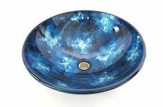 "NEW 16 1 2"" Artistic Hand Paint Glass Bathroom Vessel Sink Bowl Aqua Blue Tone | eBay"