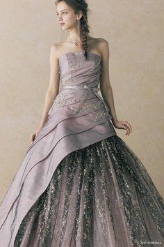 anteprima bridal straplesss ball gown wedding dress black pink pewter ant0059