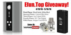 Enter to Win over $220 worth of vape gear at http://VapingCheap.com