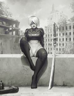 Decided to do something different on this one and focus on the values and composition and keep it on grayscale. Hope you guys like it, and a portrait version of her unmasked just for the kicks =) If you'd like to support my work, you can check my Character Art, Character Design, Drawn Art, Comics Girls, Video Game Art, Video Games, Character Development, Anime Comics, Female Characters