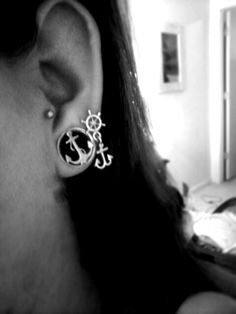 Tragus Stretched ears Gauges Anchors Black and White