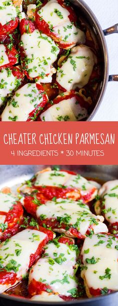 4 ingredients and 30 minutes to healthy, delicious and kid-friendly Chicken Parmesan! | www.kiwiandbean.com