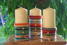 """Another pinner wrote: """"Kifli és levendula: Gyertyák pulóverben"""". My thoughts exactly! Best Candles, Pillar Candles, Wool Felt, Felted Wool, Ladies Boutique, Halloween, Candlesticks, Whimsical, Candle Holders"""