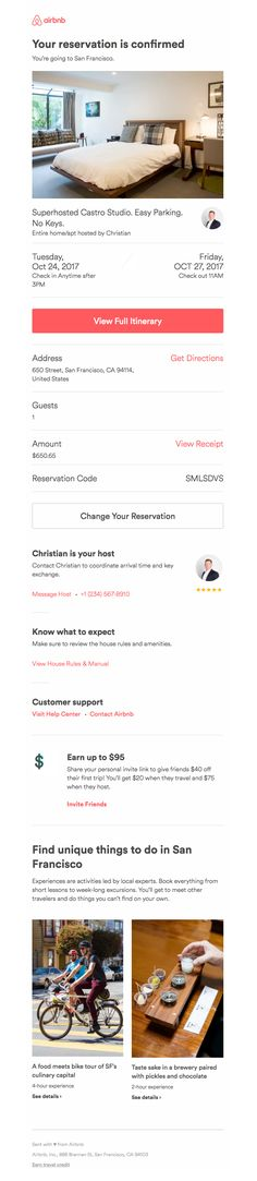 airbnb sent this email with the subject line reservation confirmed for san francisco