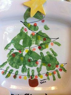 huella de la mano del árbol de navidad