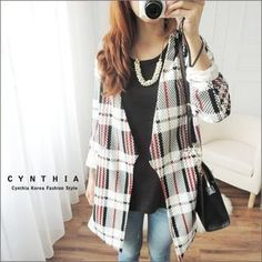 Open-Front Check Jacket from #YesStyle <3 CYNTHIA YesStyle.com