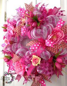 deco mesh ribbon | Deco Mesh Summer Wreath Pink Peony Tulip Burlap Chevron Ribbon Door ...