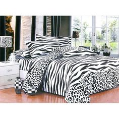Queen Bedding Set - Queen size 4 piece bedding set - cover - cases - sheet - Colour: White and black zebra-pattern - Dimensions: