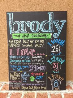 Cute idea for baby boy's first birthday. Use it in his pictures, then display it at his party. Frame with no glass to look like chalkboard, and hang on wall in his room after that!