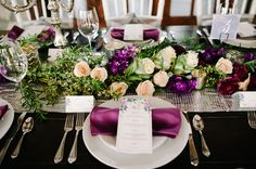 Radiant Orchid Wedding Tabletop | photography by http://www.jessiealexisphotography.com
