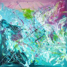 Powerful großformatiges Acrylbild 100x100 cm gemalt auf einem ca. 2cm dicken Keilrahmen. Die Seiten des Keilrahmens wurden mit gestaltet, so