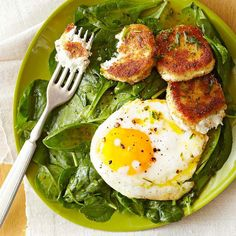 Fried goat cheese and poached eggs take this French-style salad to the next level: http://www.bhg.com/recipes/salads/side-dish-salad-recipes/?socsrc=bhgpin052514poachedeggsalad&page=5