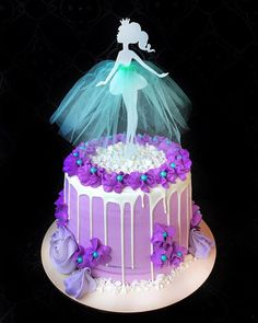 New birthday cake fondant photo tutorial Ideas Ballet Birthday Cakes, New Birthday Cake, Ballerina Cakes, Buttercream Cake, Fondant Cakes, Silhouette Cake, Little Mermaid Cakes, Barbie Cake, New Cake