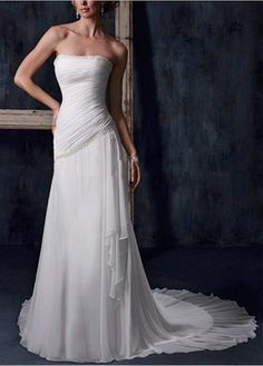 CHIFFON SHEATH STRAPLESS WEDDING DRESS LACE BRIDESMAID PARTY BALL COCKTAIL EVENING GOWN IVORY WHITE FORMAL PROM