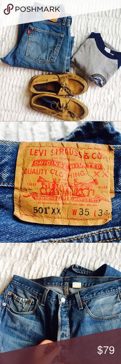 """Vintage Levi's Light Wash Men's Denim 501xx! Vintage Levi's Medium Wash Men's Denim 501xx! These are pre-loved but in great condition, no tears or stains! Online it says """"Levi's 501's is approaching its 150th birthday and it's a classic pair of Denim. These are 1992-2002 501's, noted by the xx in black on the tag and the stamped fly buttons. W 35 L 34💜 Levi's Jeans"""