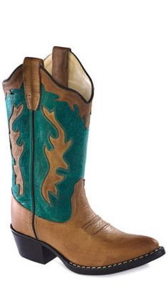 57d0631f Old West Turquoise Childrens Girls Leather J Toe Cowboy Western Boots  #fashion #clothing #