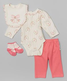 Look what I found on #zulily! Pink Floral & Bow Bodysuit Set - Infant #zulilyfinds