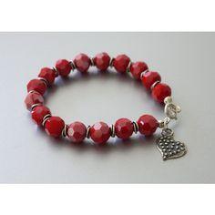 Heart Charm Bracelet, Red Glass Beads Bracelet, Charm Bracelet, Red... (€23) via Polyvore featuring jewelry, bracelets, heart jewelry, charm bracelet, red charm bracelet, red bangles and heart shaped jewelry