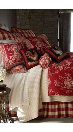 Pretty country bedroom! Red and white checkered toile bedding!