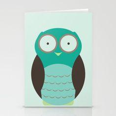 Blue Owl Summer Stationery Card by Demetria Rose.