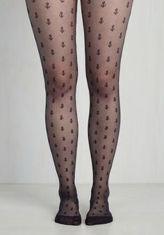 You Aft to See these Tights - Black, Novelty Print, Print, Nautical, Good
