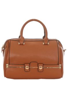 Classic Solid Metal Bar Accented Satchel Bag With Strap #GetEverythingElse #Satchel