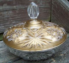 Vintage Ornate Glass Gold Painted Lidded Candy Bowl. $8.00, via Etsy.