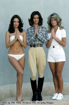 The original Charlie's Angels, 1976. Jaclyn Smith, Kate Jackson, and Farrah Fawcett.