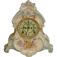Porcelain Ceramics, China Porcelain, Ansonia Clock, Bonn Germany, French Clock, Tabletop Clocks, Antique Clocks, Decorating Small Spaces, Vintage Stuff